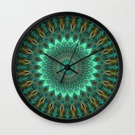 Mandala in green and golden tones Wall Clock