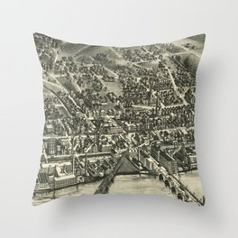 Vintage Pictorial Map of Shelton CT (1919) Throw Pillow
