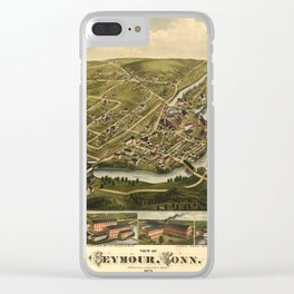 Aerial View of Seymour, Connecticut (1879) Clear iPhone Case