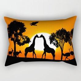 Giraffe silhouettes at sunset Rectangular Pillow
