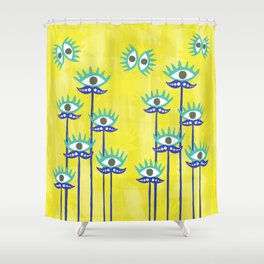 Evil Eye Nazar protective Garden Yellow Shower Curtain