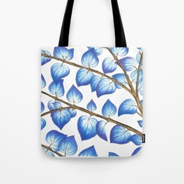 Breezy Blue Leaves Tote Bag