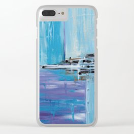 Light Blue Abstract Clear iPhone Case