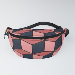 Pink and Navy Cubes Fanny Pack