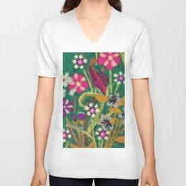 Starry Floral Felted Wool, Green Unisex V-Neck