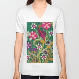 Starry Floral Felted Wool, Green Unisex V-Neck