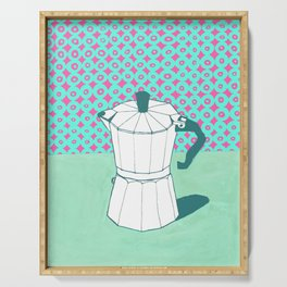 Coffee Pot with Wallpaper (Green) Serving Tray