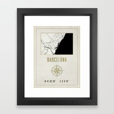 Barcelona - Vintage Map and Location Framed Art Print