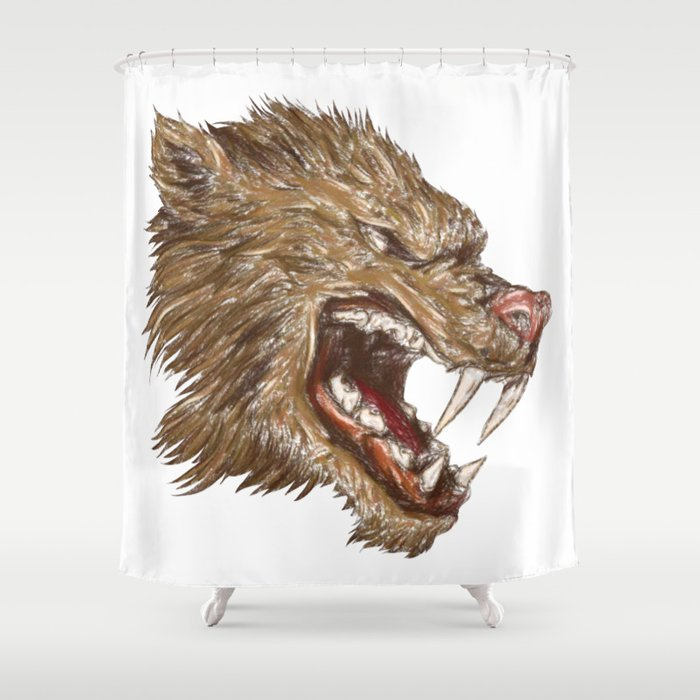 Head with sharp teeth Shower Curtain