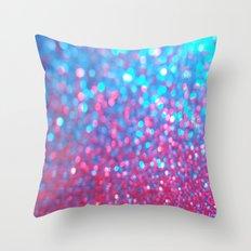 Sky Blue Pink Sparkle Glitter Gradient Throw Pillow