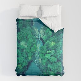 vibrant green stream and forest area landscape vignette photography Comforters
