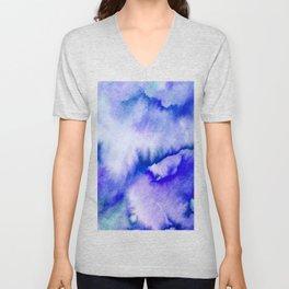 Watercolor texture - electric blue Unisex V-Neck