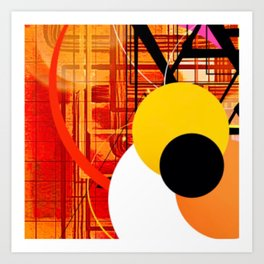 Yellow Black and Orange Sticker Abstract Art Print