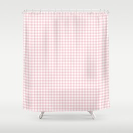 Small Blush Pink Valentine Pale Pink and White Buffalo Check Plaid Shower Curtain