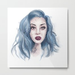 Blue Sky Girl Portrait Metal Print