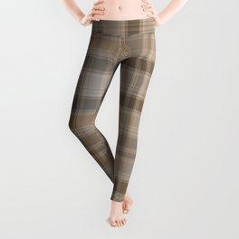 Gray and brown tartan plaid. Leggings