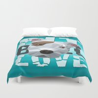 pit bull Duvet Covers featuring Pit Bull by Benjamin Ring