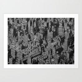The Fantasy City. Urban Landscape Illustration. Art Print