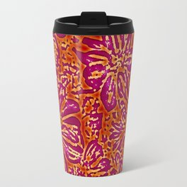 Marigold Lino Cut, Batik Red And Purple Travel Mug
