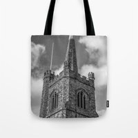 medieval Tote Bags featuring Medieval Church by David Pyatt