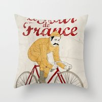 tour de france Throw Pillows featuring tour de france by cikuta