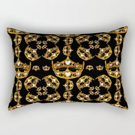 Queen of Hearts gold crown tiara scattered pattern by Kristie Hubler with black background Rectangular Pillow