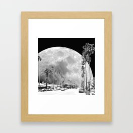 California Dream // Moon Black and White Palm Tree Fantasy Art Print Framed Art Print