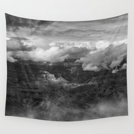 Canyon in Clouds bw Wall Tapestry