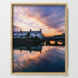 Riverside Sunset in rural England Serving Tray
