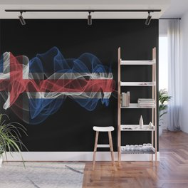 Iceland Smoke Flag on Black Background, Iceland flag Wall Mural