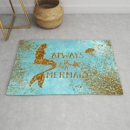 ALWAYS BE A MERMAID-Gold Faux Glitter Mermaid Saying Rug