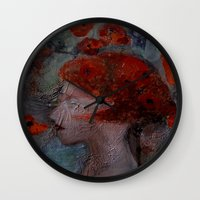 imagerybydianna Wall Clocks featuring somnia by Imagery by dianna
