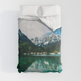 Reflective Lake Clear Mountains Comforters