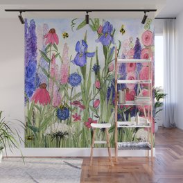 Colorful Garden Flower Acrylic Painting Wall Mural
