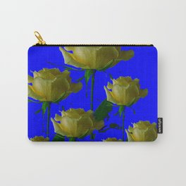IVORY WHITE LONG STEMMED ROSES ON BLUE Carry-All Pouch