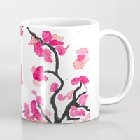 cherry blossoms Mugs featuring Cherry Blossoms by Amaya