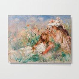 Pierre-Auguste Renoir - Girls in the Grass Arranging a Bouquet Metal Print