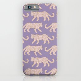 Kitty Parade - Pink on Lavender iPhone Case