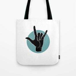 ILY - I Love You - Sign Language - Black on Green Blue 00 Umhängetasche