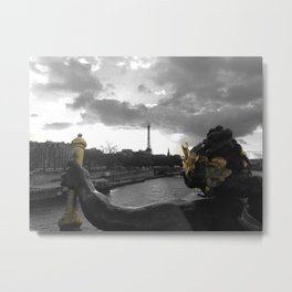 Eiffel tower Paris black and white with color GOLD Metal Print