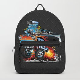 Classic hot rod 57 gasser drag racing muscle car cartoon Backpack