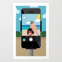 selfie Art Prints featuring Selfie? by Chiara Belmonte
