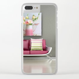 Coffee, Tea or Flowers Vignette Clear iPhone Case