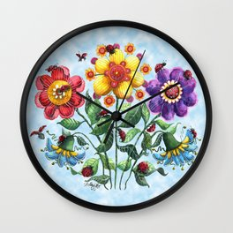 Ladybug Playground on a Summer Day Wall Clock