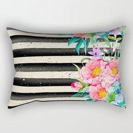 Modern stripes and tropical flowers hand paint Rectangular Pillow