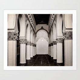 The Historic Arches in the Synagogue of Santa María la Blanca, Toledo Spain (4) Art Print