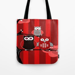 Red Owls Tote Bag