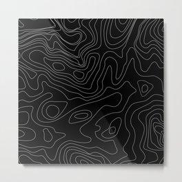 Black Abstract Topography Metal Print