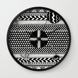 Geometric Pattern with Florals Wall Clock