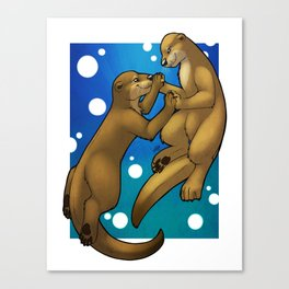 Otters In Love Canvas Print